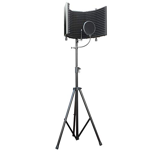 AxcessAbles SF-101KIT SF-101 Recording Studio Microphone Isolation Shield w/Stand (Black)