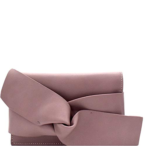 Large Bow Accent Small Clutch Shoulder Bag with Chain Strap (Mauve)