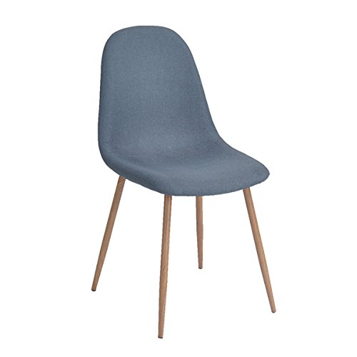 Set of 4 Eames Style Side Chair Metal Legs Fabric Cushion Seat and Back for Dining Room Chairs in Blue For Sale
