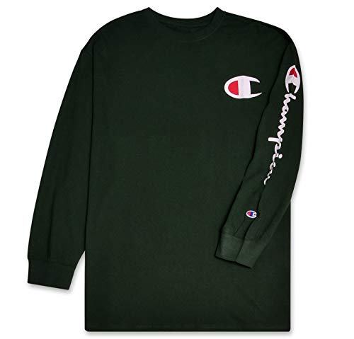 Champion Mens Big and Tall Long Sleeve Lightweight Jersey Crewneck T-Shirt Dark Green 2X ()