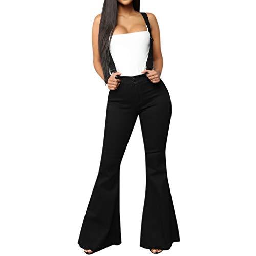 (Zohto Women High Waist Zipper Jeans Button Strap Pants Trousers Bell-Bottom Pants Black)
