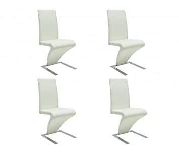Sedie moderne design set da 4 sedie pelle bianca: Amazon.it: Casa ...