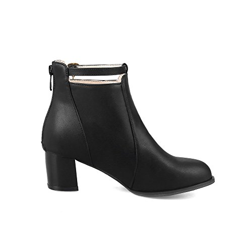 Round Heels Lower Women's Zipper AgooLar Toe Solid Boots Kitten Pile Black XR0qq4pn