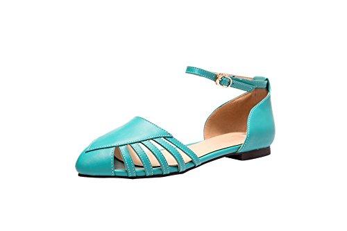 Carolbar Kvinners Spiss Tå Spenne Mote Ankel-stropp Flats Sandaler Blå Grønn