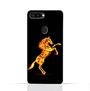AMC Design Oppo R11S Mobile Protective Case with Horse on Flame Design - Black