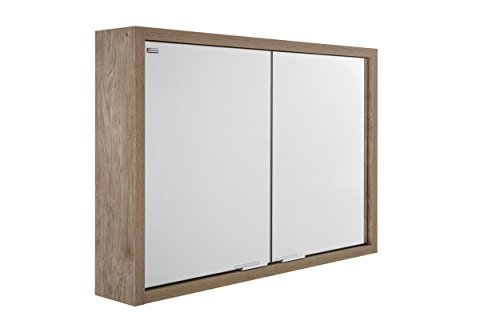 VALENZUELA Tino 28 Inch Medicine Cabinet Bathroom Vanity Mirror, Wall Mount, 2 Doors, Oak Finish (VED0070802) by DAX