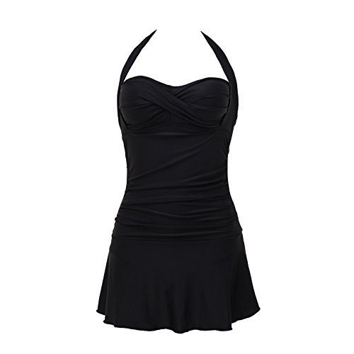 Piece Top Halter Swimsuit One (Domy Women's Plus Size Swimwear Retro Halter Top Vintage One Piece Swimsuit with Skirt (XL, Black))