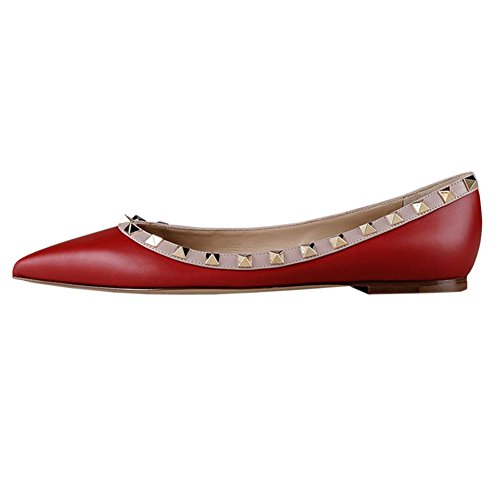Double Buckles Rivets Flats Red MERUMOTE With Straps Rockstud Fashion Shoes Daily Womens Toe Without Matte Sexy Ballet Pointed w0tZxxqI5