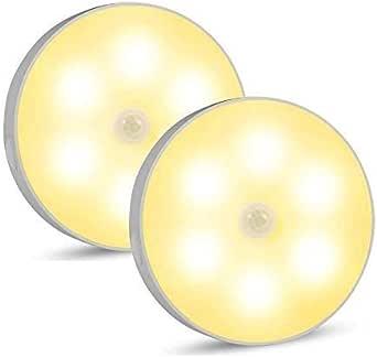 LED Motion Sensor Night Light,USB Rechargeable Cordless Wall Lights for Hallway, Closet, Bookcase, Stairs, Bedroom (02 Motion Sensor Night Light -Warm)
