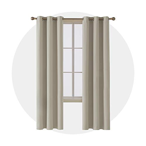 Deconovo Room Darkening Curtains Grommet Thermal Insulated Blackout Curtain for Bedroom 42x95 Inch Light Beige 4 Panels