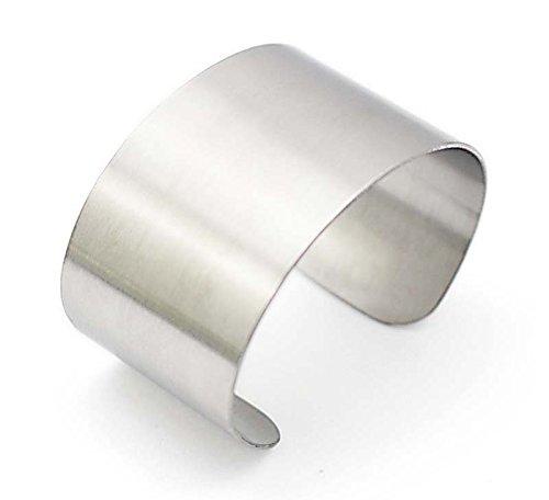 COUYA Womens Fashion 316L Stainless Steel Polished Matt Satin Cuff Bangle Bracelet 38mm Wide