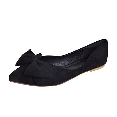 Dear Bowknot Black Pointed Flats Time Time Shoe Toe Women Dear ICqFndxO