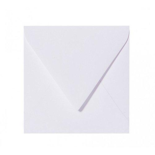 50 Briefumschläge Quadratisch - Weiß - 120 g/m² - 150 x 150 mm 15 x 15 cm - Dreieckslasche feuchtklebend - ohne Fenster
