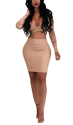 Vamvie Women's Sexy 2 Pieces dress Lace See Through Bodycon Long Sleeve Crop Tops+Midi Skirt Beige S