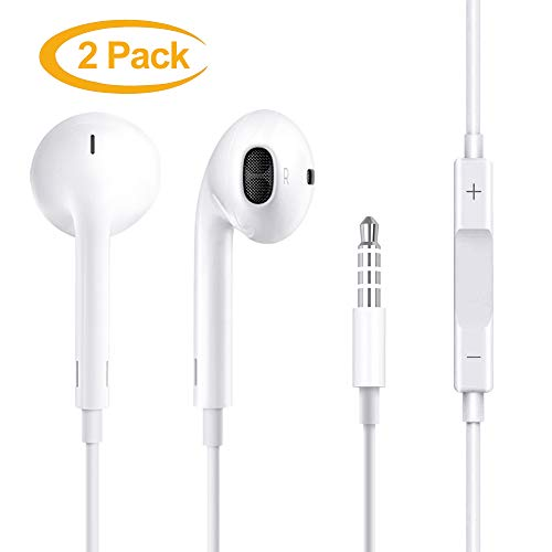 3.5mm Earbuds Earphones in Ear Headphones Wired Earphones with Mic Stereo and Volume Control – Compatible with Android / MP3 MP4 [2 Pack]