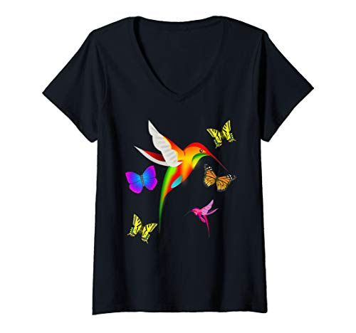 Womens Unique Colorful Hummingbirds And Butterflies V-Neck T-Shirt