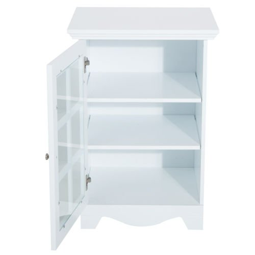 New White Wood Cabinet Storage Hutch Kitchen Bathroom Bedroom Single Glassed Door Shelves by totoshop (Image #4)