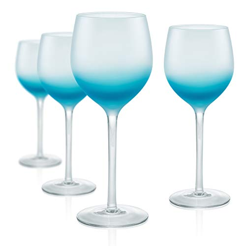 Turquoise Wine - Artland Frost Shadow Turquoise Glass 17 Ounce Goblet, Set of 4