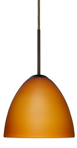 Besa Lighting 1BC-757280-MED-BR 1X50W B10 Med Sasha Ii Pendant with Amber Matte Glass, Bronze Finish - 757280 Br Bronze Finish