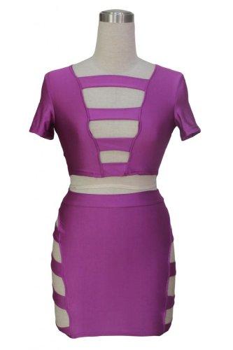 Dear-lover Women's Glowing Neon Formfitting Club Wear Skirt Set
