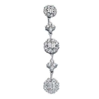 Or blanc 14carats Trendy 0.97ct Diamant Pendentif