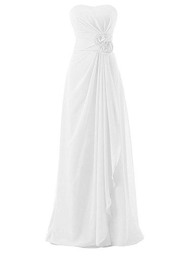 Strapless Long Dress AN155 Women's Chiffon Bridesmaid Anlin White Evening Empire Draped EqUwwZx