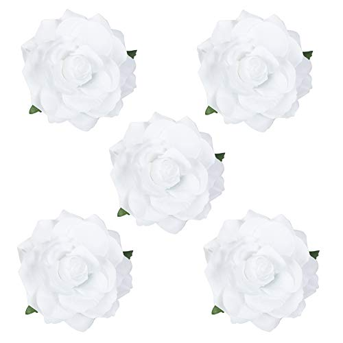 HOPEANT 5 Pcs Big Rose Flower Hair Clips Brooch Pins Accessories for Women Girl Bridal BXH35-5 (White) ()