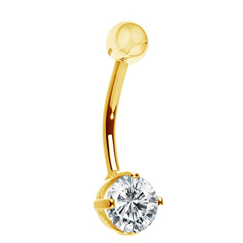 Ritastephens 14k Solid Gold Yellow Belly Button Navel Ring CZ Cubic Zirconia Body Art (Gold Belly Ring 14k Button)