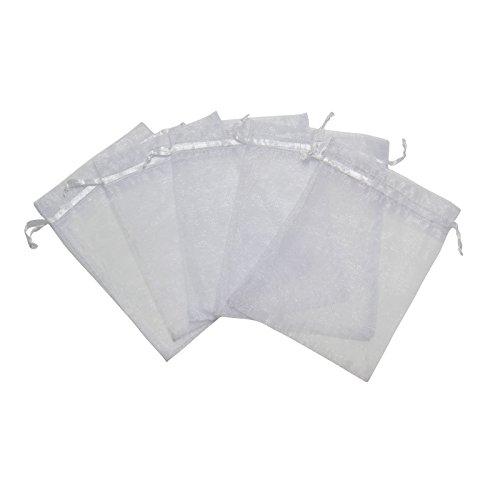 RakrisaSupplies 50Pcs White Organza Bags 8x12