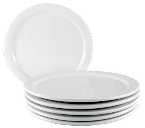ITI Brighton Ceramic Dinner Plates with Pan Scraper, 6-Pack (9 Inch, Pure White) (Microwave Ceramic Plate)