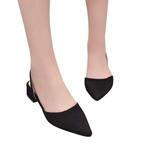 vermers Clearance Deals Ankle Strap Pumps for Women - Thick Heel Pointed Toe Mid Heels Comfortable Shoes(US:5, Black) (Pump Effluent Myers)