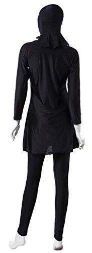 Fortuning's JDS La modestia musulmana con capucha traje de baño traje de baño islámico de la cubierta completa de trajes de baño acolchada burkini para las mujeres y señoras grigio