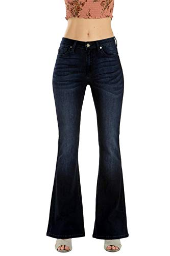 KanCan Women's Mid Rise Flare Jeans 1 Dark Wash KC6102 - Wash Flare Dark