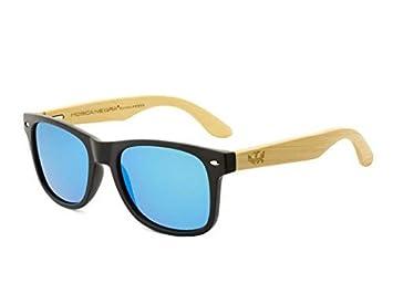 Gafas de Madera Mosca Negra Modelo Mix Solid Black and Ice Blue Wood Sunglasses: Amazon.es: Deportes y aire libre