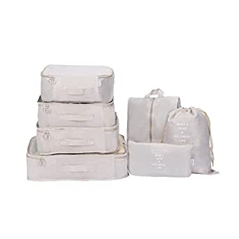 Packing Cubes - Efuly 7pcs Sets Travel Storage Bag Organizer Luggage Compression Pouches (Beige)