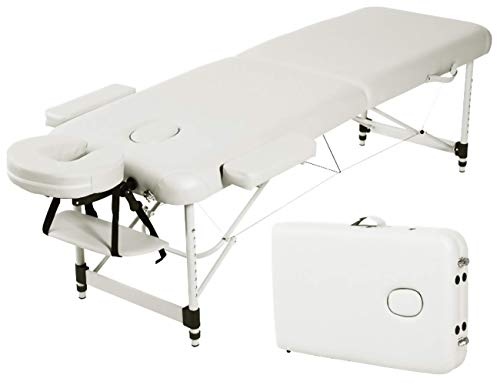 Angel USA Ultra Light Weight Sturdy Aluminum Frame 84″L Portable Massage Table Facial SPA Bed Tattoo w/Free Carry Case, Face Cradle, Arm Rests (Cream White)