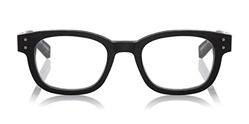 eyebobs Butch All Day Reader, Black with a matte woodgrain finish, Reading Glasses SUPERIOR QUALITY- because your eyes deserve the good - Glasses Face For Best Long Narrow
