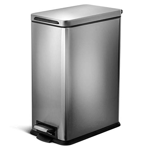 Home Zone Kitchen 30 Liter / 8 Gallon Stainless Steel Trash Can, Slim Rectangular, Pedal