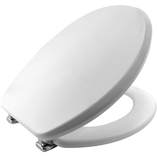 Bemis 4402CP Memphis Moulded Wood Toilet Seat with Chrome Plated Hinges - White