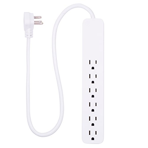GE Power Strip Surge Protector, 6 Outlets, Fast Charge, Flat Plug, Long Power Cord, 2ft, Wall Mount, White, 40532