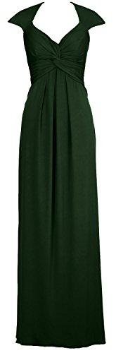 Macloth Élégante Robe De Bal Simple Maillot Longue Dos Ouvert Robe De Soirée Vert Foncé