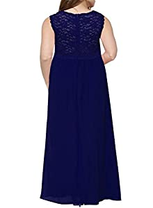 Nemidor Women's Deep- V Neck Sleeveless Vintage Plus Size Bridesmaid Formal Maxi Dress (26, Blue)
