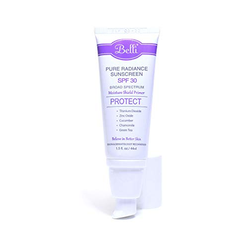 Belli Pure Radiance Mineral Sunscreen SPF 30 Broad Spectrum UVA/UVB Protection (1.5 Fl. Oz.) Oil-Free Zinc Oxide and Titanium Dioxide for Sensitive Skin, Baby and Pregnancy Safe