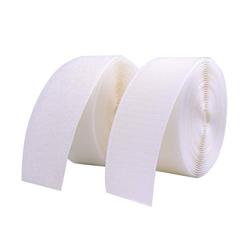 "Vkey 50mm(2"") Width 5 Meters Sew-On Hook and Loop Fastener Tape Tape Nylon Strips Fabric Non-Adhesive Back White Classroom Diy"