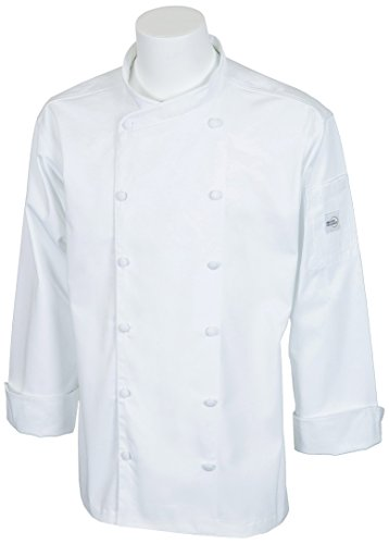 Mercer Culinary M62010WHS Renaissance Men's Scoop Neck Chef Jacket, Small, White