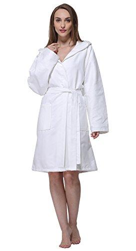 SUNLAND Chamois Microfiber Hooded Bathrobe Unisex Beach Spa Robe L White by SUNLAND (Image #2)