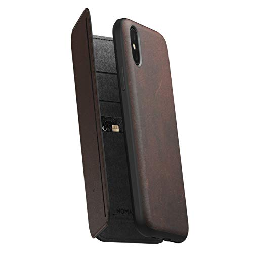 Brown Leather Folio Case - Nomad Tri-Folio for iPhone XS | Rustic Brown Horween Leather