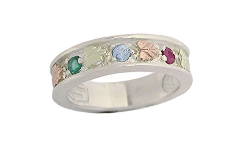 Black Hills Silver Mothers Family Band Customizable with 1,2,3,4,5,6 or 7 Genuine 2.5MM Birthstones