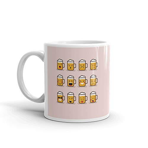 Set Cute Flat Glass Of Beer Character With Different Facial Expressions Emotions Collection Emoji Isolated On Color Ba Favorite Drink Mug 11 Oz Ceramic