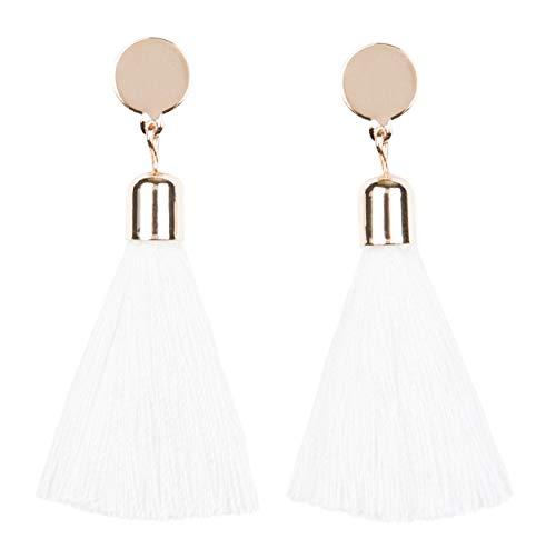 Rose Gold Tassel Earrings: White fringe gifts for women. Fashion drop dangle tassle earing by BLUSH & CO. (Bellini White)
